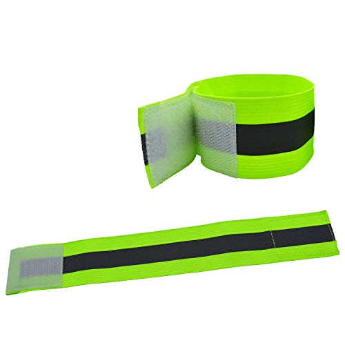 2PCS High Visibility Reflective Night Running Walking Elastic Strap Wristbands Ankle Bands Armbands Safety for Cycling Walking Running Camping Outdoor Sports-Fits Women, Men & Kids (1 Pairs / 2 Bands)