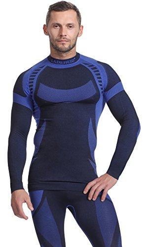 Ladeheid Ladeheid Herren Funktionsunterwäsche Langarm Shirt Thermoaktiv (Schwarz/Navyblau, M)