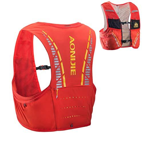 Azarxis Sac à Dos Running Sac Trail 5L Gilet Trail Hydratation Sac d'hydratation Trail Léger pour Homme Femme Marathon Randonnée Escalade Course (Orange & Rouge, M/L (90-102 cm))
