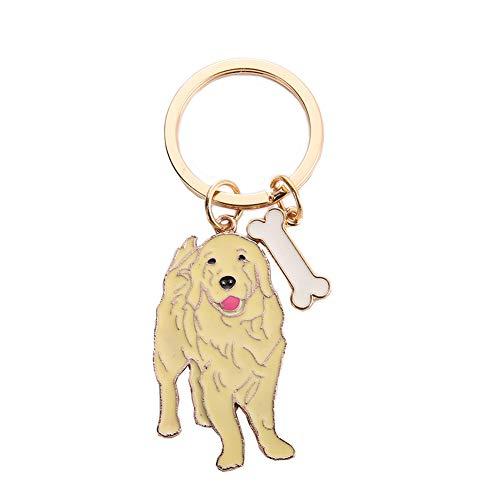 Portachiavi per cani, 10 cm, in metallo, con ciondolo a forma di cane, ideale come regalo di compleanno (Golden Retriever)