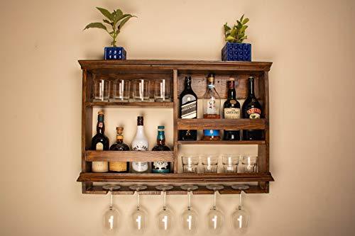 Beverly Homez Wooden bar Wall Shelf Wine Glass Holder Rack Wall-Mounted Wine Rack | Color : Walnut (36/24 Inch)