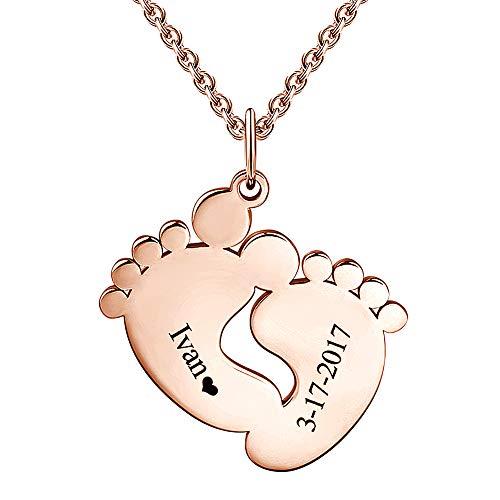 SOUFEEL Collar Nombre Personalizado Colgante Plata de Ley Huella de Bebe Cadena Ajustble Chapado Oro Rosa