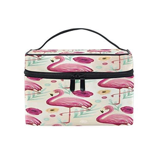 Trousse de toilette portable en toile avec motif flamants roses et oiseaux, idéale pour le voyage, le maquillage et le maquillage
