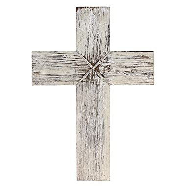 Old River Outdoors Simple 14  Weathered Wood Decorative Wall Cross - Rustic Shabby Chic Chalk Paint Look (White)