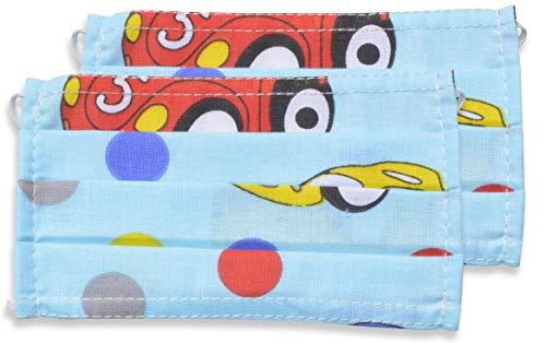 fashionchimp ® 2er-Set Kinder Mundschutz-Maske aus 100% Baumwolle, Gesichtsmaske, waschbar, EU-Ware, OEKOTEX (Autos)