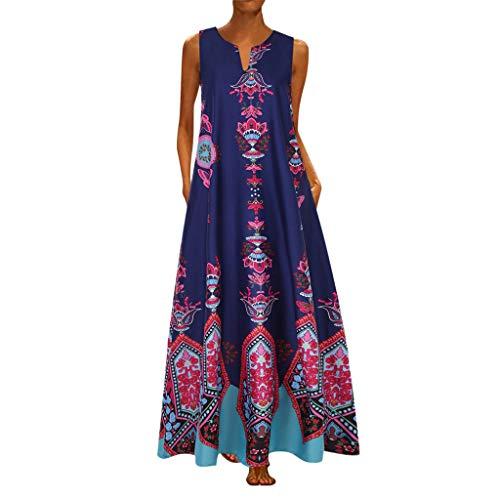 ZODOF vestidos mujer vestido bohemio mujer Casual Sin mangas Vendimia Cuello en V vestidos largos estampados estidos de fiesta largos/vestidos elegantes mujer/vestidos fiesta(XL,Azul oscuro)