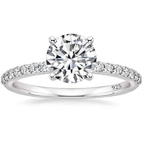 EAMTI 925 Sterling Silver 1.25 CT Round Solitaire Cubic Zirconia Engagement Ring Halo Promise Ring Size 8