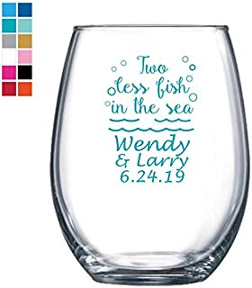 Two Less Fish In The Sea Personalized Wine Glass Wedding Turquoise