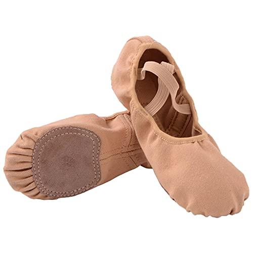 Ballettschuhe Damen Geteilte Ledersohle Ballettschläppchen Mädchen Lycra Ballett Trainings Schläppchen Tanzschuhe Frauen Spitzenschuhe Gelb 39