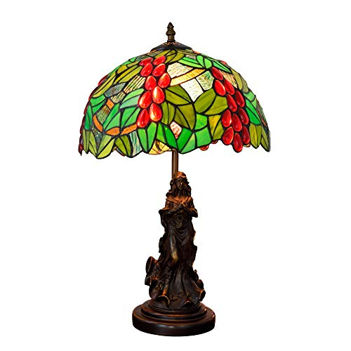 Tiffany Pastoral Lámparas De Mesa De Uva Verde Retro Pantalla De Cristal De Colores Lámpara De Cabecera Art Beauty Girl Luces De Escritorio Bar Club Dormitorio Luz De Decoración (12 Pulgadas, E27)