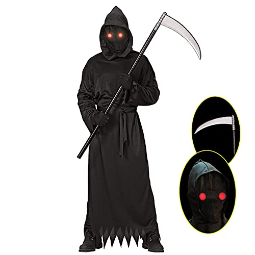 Grim Reaper Halloween Costume with Glowing Red Eyes for Kids, Scythe Included