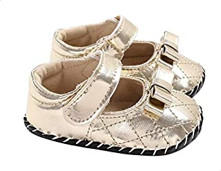 Mix & Max Quilted Faux Leather Velcro-Strap Bow-Detail Shoes for Girls 0-6 Months