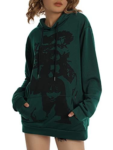 Blusa de manga larga con estampado de retrato de cara para mujer Y2k con capucha y estampado vintage E-Girl Harajuku Pullover con cordón, verde oscuro, S