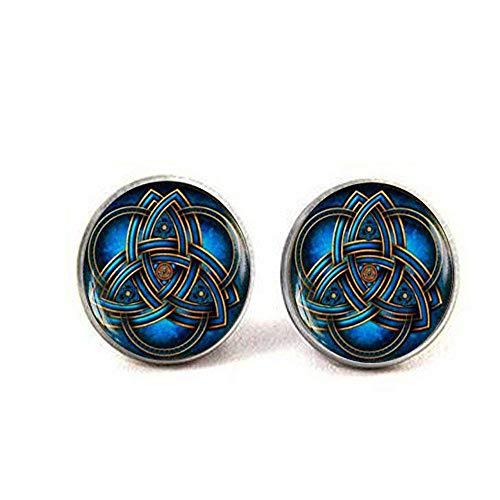 Blau Triquetra keltischer Knoten Manschettenknöpfe, die Keltische Dreieck Manschettenknöpfe, Manschettenknöpfe, Manschettenknöpfe, Trinity Keltisch Knoten Art Manschettenknöpfe