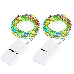 SanGlory 2 St/ück USB Wiederaufladbares Silberdraht Wasserdicht lichterkette f/ür Party Fest Beleuchtungdeko 9.8 Ft//3M 30er LED-Lichterkette Batterienbetrieben Warmwei/ß