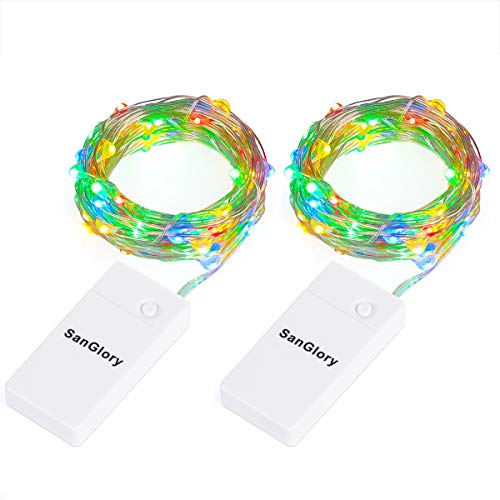 9.8 Ft/3M 30er LED-Lichterkette Batteriebetrieben Bunt,SanGlory 2 Stück USB Wiederaufladbares Silberdraht Wasserdicht lichterketten für Party Fest Beleuchtungdeko (Bunt)