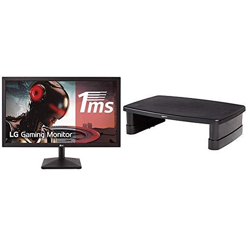 "LG 24MK400H-B - Monitor Gaming FHD 59,8 cm (23,8"") con Panel TN (1920 x 1080, 16:9, 1 ms, 75Hz, 250 CD/m², 1000:1, NTSC >72%) Negro Mate + Amazon Basics - Soporte Ajustable para Monitor"