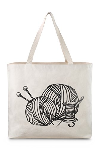Reusable Canvas Bag - Large Tote Bag with Printed Knitting Theme. Double Stitched with Shoulder Straps. Easily Carry your Yarn and Knitting Needles. Made in USA (Knitting)
