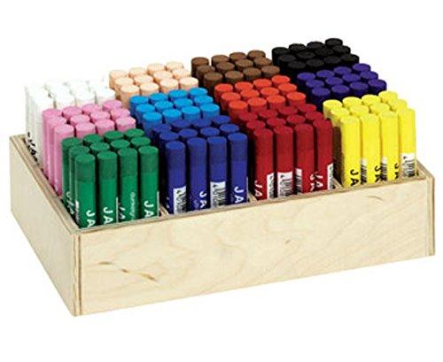 JAXON Ölkreide im Holzaufsteller, 144 Ölpastell-Kreiden in 12 Farben, Trocken oder aquarelliert einsetzbar - Wachsmalstife Pastellkreiden