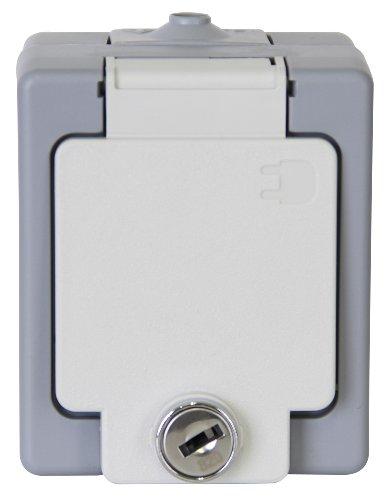 Kopp 105648002 Schutzkontakt-Steckdose 1-fach mit Sicherheitsschloss, Aufputz-Feuchtraum Standard