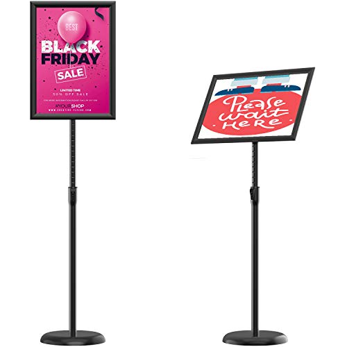 KOOV Poster Sign Stand 8.5 x 11 Inches Floor Standing Sign Holders, Adjustable Pedestal Poster Stand with Heavy Duty Round Base Both Vertical and Horizontal Sign Displayed, 1Pack Black