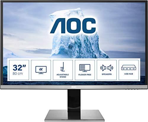 AOC U3277PWQU - 32 Zoll UHD Monitor, höhenverstellbar (3840x2160, 60 Hz, VGA, DVI, HDMI 2.0, DisplayPort, USB Hub) schwarz/silber