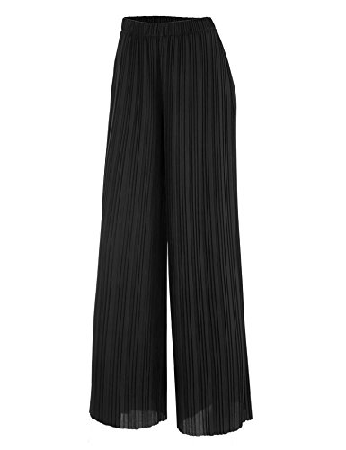 LL WB1795 Womens Pleated Wide Leg Pants with Elastic Waist Band-Made in USA L Black