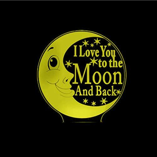 KangYD Lovely Moon I Love You Luz de noche 3D, Lámpara de ilusión óptica LED, B - Base negra remota (16 colores), Lámpara de humor, Luz creativa, Lámpara de noche