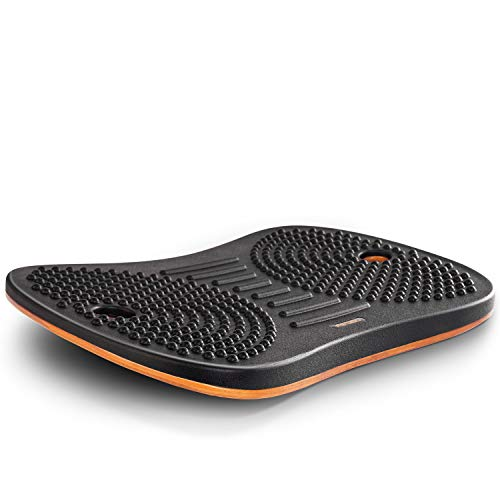 FEZIBO Standing Desk Anti Fatigue Mat Wooden Wobble Balance Board Stability Rocker with Ergonomic Design Comfort Floor Mat (Medium, Obsidian Black)