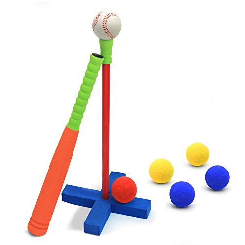 CeleMoon 21 Inch Kids Foam TBall Baseball Bat Set Toy, 6 Colorful Balls + Carrying Bag Included, for Kids 3 4 5 6 Years Old, Orange