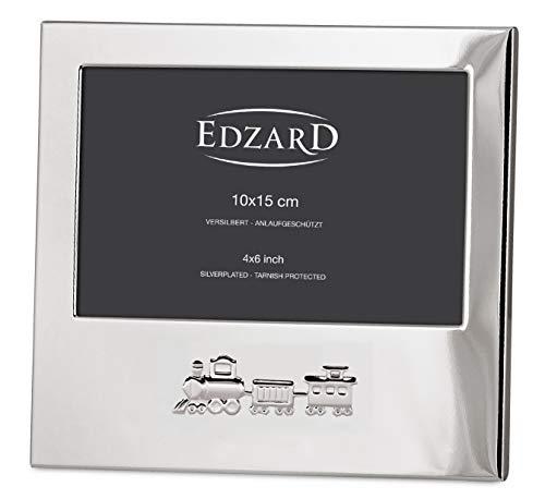 EDZARD Fotorahmen Eisenbahn für Foto 10 x 15 cm quer, edel versilbert, anlaufgeschützt, für Kinderzimmer Kinder