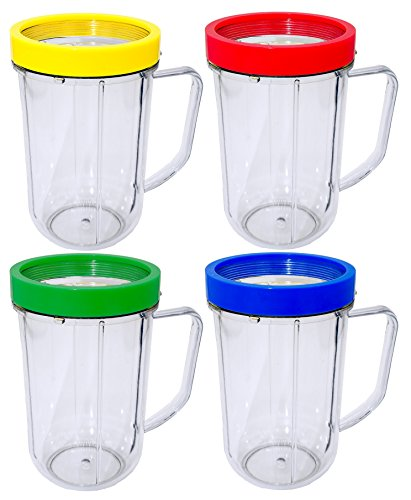 Blendin 4 Pack 16 Ounce Party Mugs Cups with Colored Lip Rings, Compatible with Original Magic Bullet Blender Juicer 250W MB1001