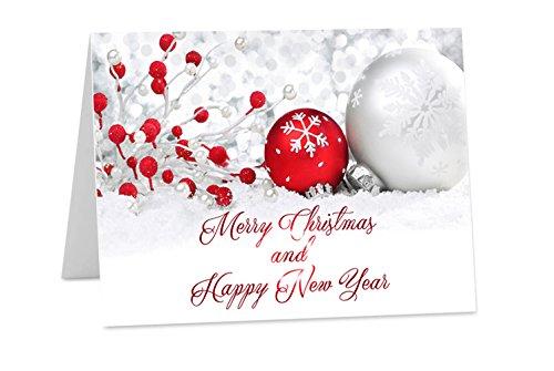 10 X Personalizzati Natale Capodanno Corporate Logo Family Biglietti A6 O A5 Piegato, White, A6 Folded (148X105Mm)