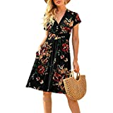 Vestido de verano con estampado bohemio de manga corta con cuello en V para mujer, vestido de patinador sólido casual, Impresión Negro, S