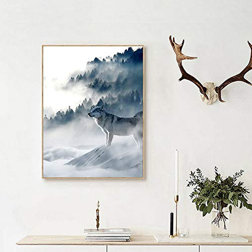 wojinbao sin Marco nórdico Decorativo para el hogar Arte Nieve montaña Paisaje Carteles e Impresiones Lobo Animal Lienzo Sala de Estar murales 40x60 cm
