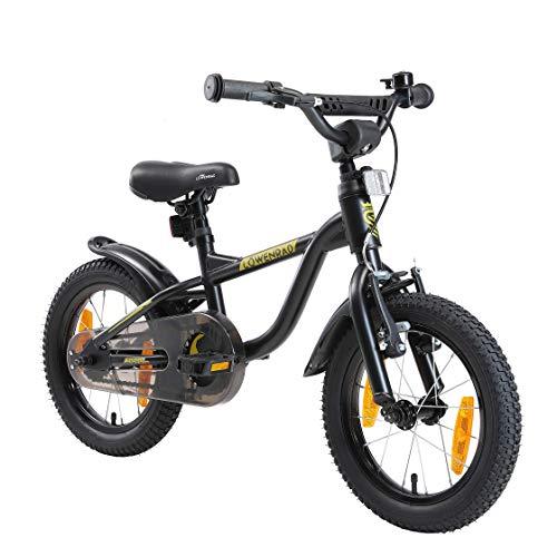 LÖWENRAD Kinderfahrrad für Jungen und Mädchen ab 3-4 Jahre | 14 Zoll Kinderrad mit Bremse | Fahrrad für Kinder | Schwarz