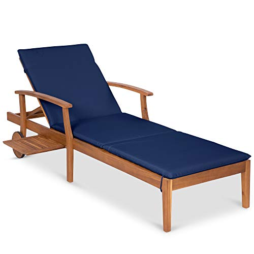 Best Choice Products 79×30-inch Acacia Wood Chaise Lounge Chair Recliner, Outdoor Furniture for Patio, Poolside w/Slide-Out Side Table, Foam-Padded Cushion, Adjustable Backrest, Wheels – Navy Blue