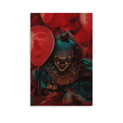 WETUO Horror-Filmposter, gruseliges Poster von Pennywise, Leinwand-Kunst-Poster und Wandkunstdruck, modernes Familienschlafzimmer, 20 x 30 cm