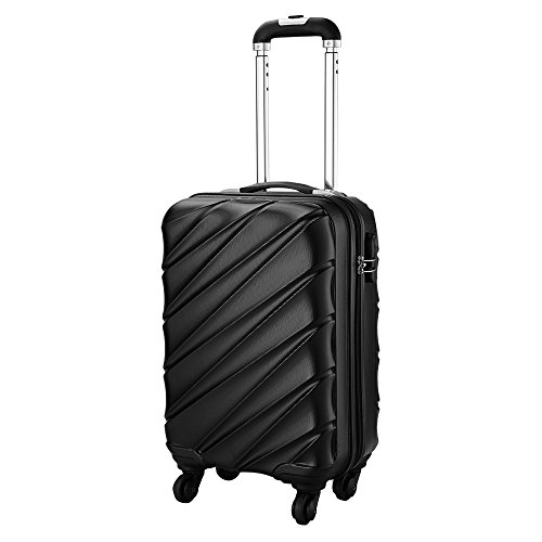 Cabin Max Tuscany Super Lightweight 2.4kg ABS Hard Shell Travel Carry On Cabin Hand Luggage Suitcase with 4 wheels, Approved for Ryanair, Easyjet, British Airways, and Many More, (Black)