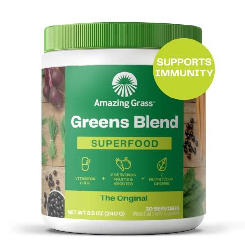 Amazing Grass Greens Blend Superfood: Super Greens Powder with Spirulina, Chlorella, Beet Root Powder, Digestive Enzymes & Probiotics, Original, 30 Servings (Packaging May Vary)
