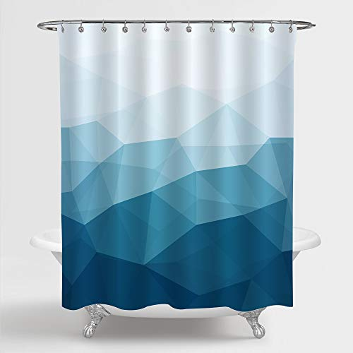 MitoVilla Ombre Geometric Shower Curtain, Blue and Teal Futuristic Diamond Pattern Bathroom Accessories, Abstract Polygonal Background for Contemporary Bathroom Decor, Navy, 72' W x 72' L