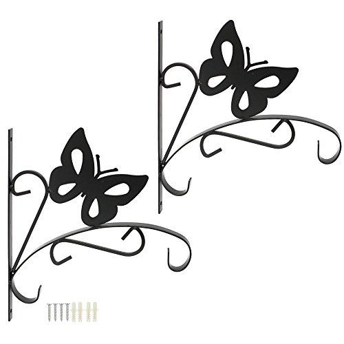 com-four® 2X Wandhalterung Schmetterling aus pulverbeschichteten Eisen für Blumenampeln und Windspiele, mit Schrauben und Dübeln (Wandhalterung 2 Stück - Schmetterling V2)