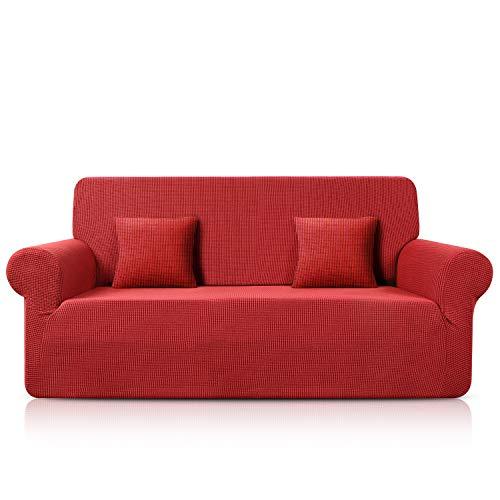 TAOCOCO Funda para sofá de jacquard, elástica, de spandex, disponible en varios tamaños y colores (rojo, 3 plazas, 180 – 230 cm)