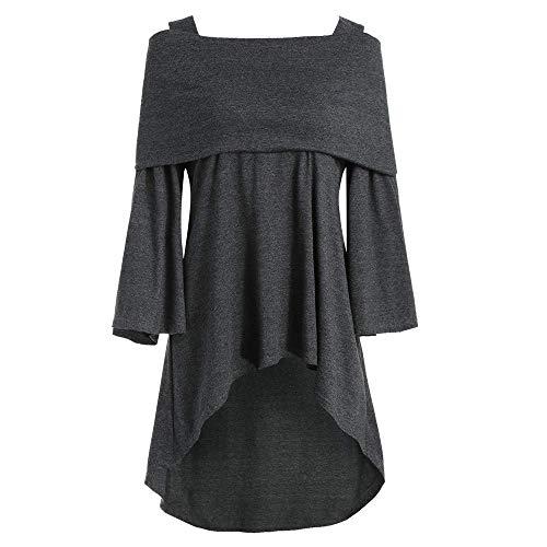 Tops De Mujer Moda Fuera del Hombro Hombro Asimétrico Vintage Desnudo Palangre Pliegues Largos Camiseta Un Hombro Camisa Suelta Suelta Camiseta Fiesta Al Aire Libre Tops Diarios