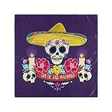 RAUP Satin Napkins Set of 6, Mexican Dia De Los Muertos Day,Square Printed Party & Dinner Cloth Napkins,20' X 20'