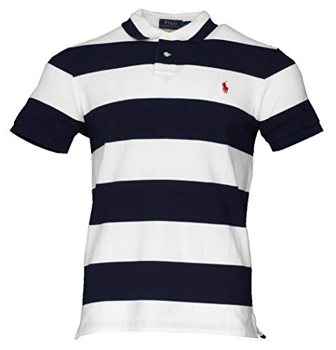 Ralph Lauren Kurzarm Polo - Custom Slim Fit - Gestreift (Weiß, M)