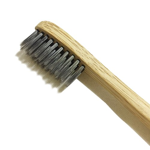 Natural Toothbrush with Bamboo & Charcoal Fibre Bristles from LiveCoco | Bamboo Toothbrush Medium | Activated Charcoal Powder | Bamboo Toothbrush Charcoal | Charcoal Toothbrush
