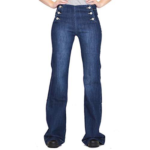 Pantalones Vaqueros de Pierna Ancha Retro de Cintura Alta con Botones múltiples para Mujer, Pantalones Vaqueros de Pierna Recta Desgastados y relajados para el Ocio Diario M