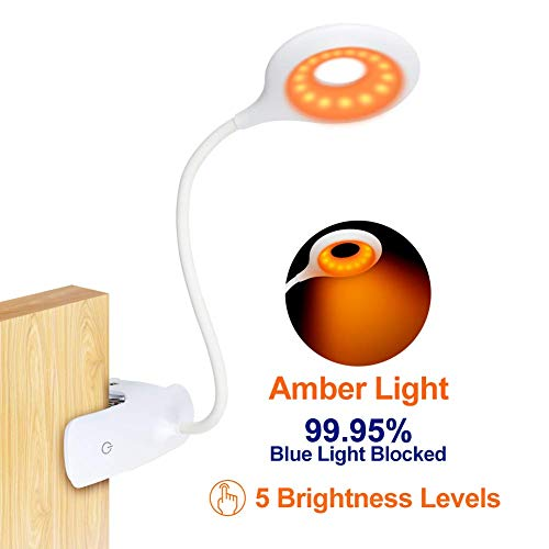 Clip On Reading Light for Bed Headboard - Rechargeable 16 LED Amber Book Light, 5 Brightness Desk...