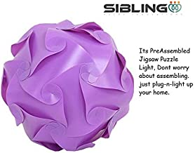 Sibiling® PreAssembled DIY Jigsaw Puzzle Ball Decorative Diwali Lantern/Jhumar Light Lamp, Purple